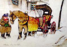 Normand Hudon(1929-1997), Sérigraphie 9/10 32x41, Le Calèchier Vieux-Montréal