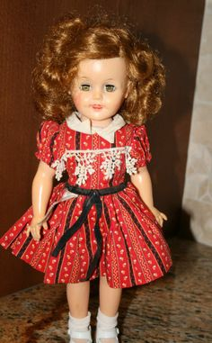 """Vintage Vinyl 15"""" Shirley Temple Doll by Ideal I remember this dress and those curls"""