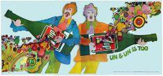Vintage 1969 Psychedelic Uncola Bottle Guitar 12 panel Billboard by Vintage Advertisements, Vintage Ads, Vintage Food, Vintage Signs, Tumblr, Sale Poster, Psychedelic Art, Woodstock, Billboard
