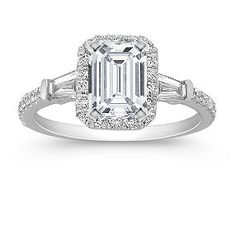 Emerald Cut Halo Baguette and Round Diamond Engagement Ring shown with diamond center; your choice of ruby, sapphire or diamond center