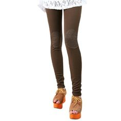 Allegra K Ladies Stretch Waist Patches Full Length Fashion Leggings Brown XS Allegra K. $8.92
