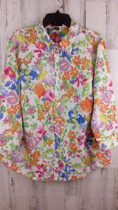 b7ce10729a742e Chaps Womens Button Top Plus Size 3X Cotton Floral Print 3/4 Button Cuff  Sleeves