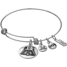 Star Wars Stainless Steel Darth Vader Charm Bangle Bracelet ($38) ❤ liked on Polyvore featuring jewelry, bracelets, grey, bangle charm bracelet, stainless steel jewelry, charm bracelet bangle, bangle jewelry and charm bangles