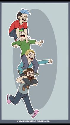 Cute fanart of Ken, Felix, Jack, & Mark (bottom to top)