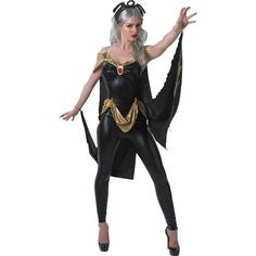 Marvel Classic - Secret Wishes X-Men Storm Costume ($49) ❤ liked on Polyvore featuring costumes, halloween costumes, black cat costume, adult queen costume, superhero costumes, cat costume and adult super hero costumes