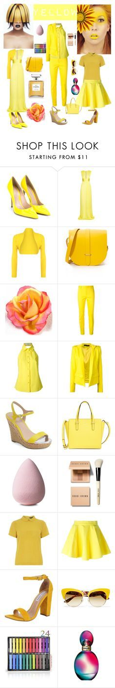 """""""●Yellow●"""" by stylelady1993 ❤ liked on Polyvore featuring Gianvito Rossi, Maria Lucia Hohan, WearAll, The Cambridge Satchel Company, Chanel, Dsquared2, STELLA McCARTNEY, Alexandre Vauthier, Charles by Charles David and Kate Spade"""