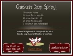 Chicken Coop Spray with Essential Oils~Patti's Place (Very cool idea! Thanks Patti!)