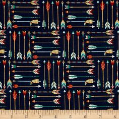 Riley Blake High Adventure Arrow Blue from @fabricdotcom From Designs by Dena for Riley Blake Designs, this cotton print fabric is perfect for a boy's room, with outdoorsy prints and masculine colorways. Perfect for quilting, apparel, and home decor accents. Colors include blue, cream, brown, yellow, orange, red, and green.