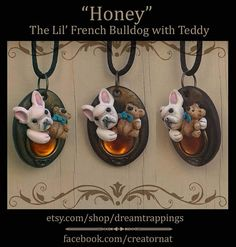 Honey the French Bulldog & Amber Gem with Teddy Bear Sculpted