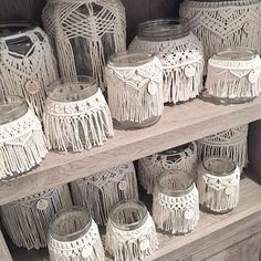 Look at this stunning macrame jars. Makes your home looks artsy in this macrame jars decoration. It would be good to place a aromatic candle inside.