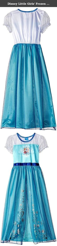 Disney Little Girls' Frozen Queen Elsa Fanstasy Nightgown, Aqua, 8. Authentic Disney Frozen product with reliable quality and durability. Frozen Elsa graphic at bodice. Disney Frozen Elsa Girl Short Sleeve Nightgown Pajama. Soft & comfortable. Beautiful Princess nightgown Featuring Elsa.