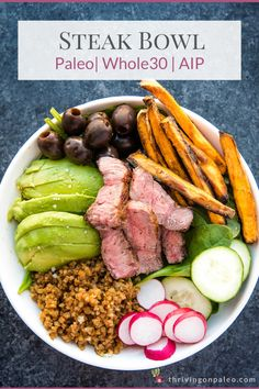 Look forward to your meal with this nutrient-dense, filling, and delicious steak bowl recipe. Easy to make and tons of flavor! Great for lunch or dinner and can be made ahead of time.