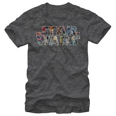 Epic Logo - Darth Vader, Luke Skywalker, and Princess Leia are just a few of the awesome characters featured on the Star Wars Classic Poster Logo Heather Charcoal T-Shirt. The Star Wars logo is across the front of this gray Star Wars tee shirt with some of the
