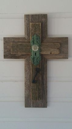 Hey, I found this really awesome Etsy listing at https://www.etsy.com/listing/206214267/rustic-wood-cross-with-rustic-door-knob
