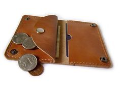 Handcrafted Leather Wallet - Perfect size Card Holder/ Wallet /Case/ Bank Cards/ Cash with Coin Purse