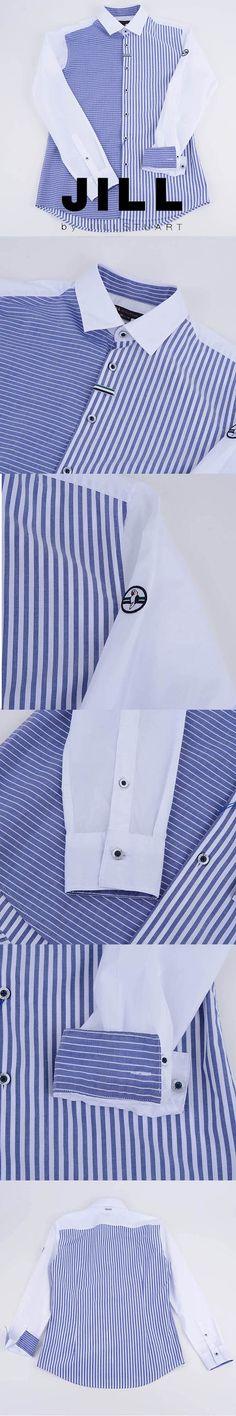 질바이질스튜어트셔츠 스트라이프배색 블루 슬림핏 긴팔 셔츠 JBDP1CSL306-B1 - 더현대닷컴