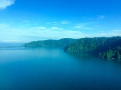 View of the stunning Golfo Dulce from the plane (Golfo Dulce, Costa Rica).