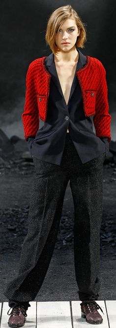 Chanel ~ Red Cropped Wool Jacket with Grey Tweed Trousers