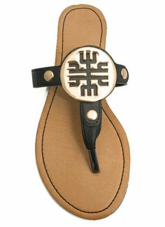 Cut-Out Medallion Thong Sandals; GO JANE