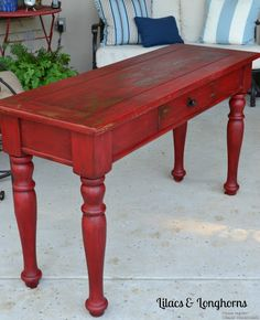 What women want: Creation of a luxury brand Ways to go BOLD with your Furniture Red milk paint table by Lilacs & LonghornsRed milk paint table by Lilacs & Longhorns Red Painted Furniture, Chalk Paint Furniture, Refurbished Furniture, Repurposed Furniture, Shabby Chic Furniture, Furniture Projects, Furniture Making, Furniture Makeover, Diy Furniture