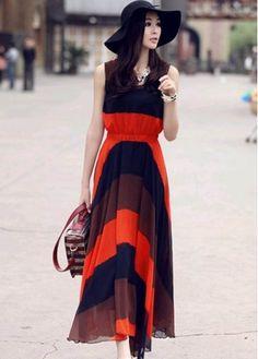 USD$13.75 Bohemian Sexy Striped Color Block Chiffon Maxi Dresses Orange martofchina.com