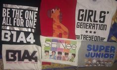 My k-pop shirts from Fyzzed (B1A4, Oh! My School, Girls' Generation/SNSD, SHINee and Super Junior) :)