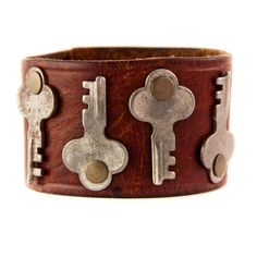 Vintage Keys on Leather Cuff OOAK Free Shipping