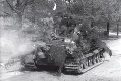 """512 German heavy battalion of tank destroyers (armed, by the way, even 128-mm tank destroyer """"Jagdtiger""""). Iserlohn, Germany; April 1945 years"""