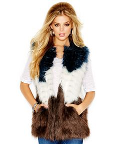 GUESS Faux-Fur Colorblocked Vest   LOVE!