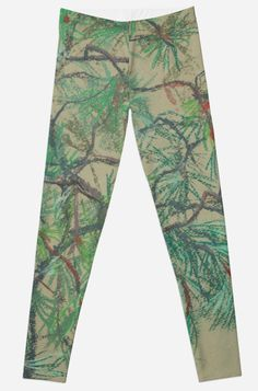 """Pine-tree branch, impressionistic art, nature, green shades"" Leggings by clipsocallipso 