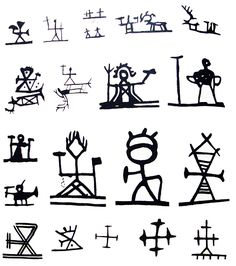 Shaman´s drum symbols in Scandinavia  Tiermes or Horagalles, god of the thunder and his symbol doublehammer