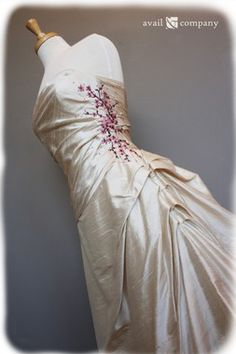 Cherry Blossom Bridal Gown Wedding Dress - Cherry Blossom Style - Avail & Company, LLC Corseted Vintage Wedding with Elegant Floral Pink Embroidery Stitched Along its Side and Below the Train Poofy Wedding Dress, Pink Wedding Dresses, Country Wedding Dresses, Wedding Gowns, Bridesmaid Dresses, Cherry Blossom Dress, Cherry Blossom Wedding, Cherry Dress, Cherry Blossoms