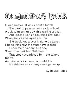 Grandmother's Brook - A poem for teaching/modeling how to visualize