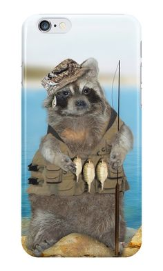 Raccoon Fisherman iPhone Cases & Skins #Gravityx9 #Redbubble