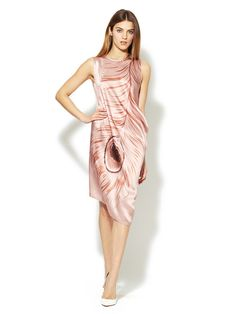 Thakoon Printed Feather Silk Draped Dress