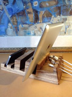 Macbook and iPad Stand Wood Charging Station by artWoodworking