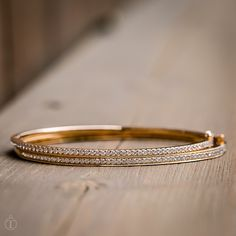 Thin diamond bangles, perfect for every occasion. Rose Gold and Yellow Gold Diamond Bangles