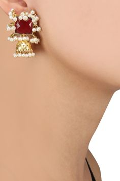 Zevar by Geeta Gold Dipped Pearl and Red Stone Earrings