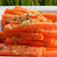 "Parmesan Crusted Baby Carrots | ""Wow! They taste so good with only three ingredients! I was tired of boring, plain carrots and found this great recipe"""