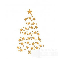 Stars Christmas Tree Embroidery Design