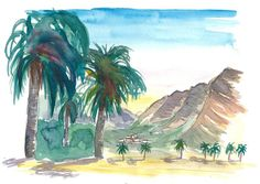 """Saatchi Art is pleased to offer the painting, """"La Gomera Valle Gran Rey View with Palms,"""" by M Bleichner, available for purchase at $369 USD. Original Painting: Watercolor on Paper. Size is 7.9 H x 11.8 W x 0.4 in. Original Paintings For Sale, Original Artwork, Watercolor Paper, Watercolor Paintings, Impressionism Art, Cool Artwork, Buy Art, Paper Art, Saatchi Art"""