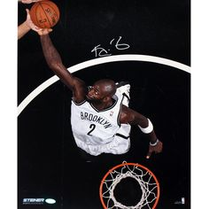 Kevin Garnett Brooklyn Nets Dunk Signed Vertical 16x20 Photo - Basketball star Kevin Garnett has personally hand-signed this 16x20 Photo. Throughout his career Garnett has been one of the most dominant centers in the game. This 15x All-Star won the league MVP Award in 2004 and won a NBA Championship in Boston when he joined the Celtics. Garnett looks to help the Nets win a title of their own at the Barclays Center. This Kevin Garnett autograph is guaranteed authentic and includes a Steiner…