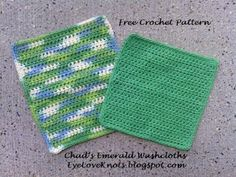 Chad's Emerald Washcloth in 2 Sizes - Free Crochet Pattern