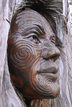 detail - Ranginui (Sky Father) from Maori tradition carved by Ken Blum and Woody Woodward. Abel Tasman National Park sculpture garden, New Zealand photo credit: billyrayhorsefly
