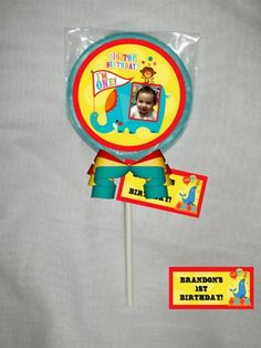 Fisher Price 1st Birthday Circus Personalized Choc. Lollipop or Cookie | PartiesRPersonal - Edibles on ArtFire