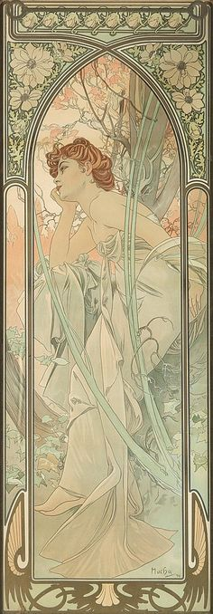 ALPHONSE MUCHA (1860-1939). [TIMES OF THE DAY / REVERIE DU SOIR.] 1899. 40x14 inches, 103x35 cm.