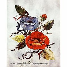 Painted Poppies Thread Painting Wall Quilt Pattern Embellishment Village c2274 #EmbellishmentVillage