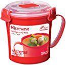 Sistema Microwave Cookware Soup Mug, Medium, 22.1 Ounce/ 2.8 Cup, Red