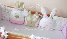Купить Бортики подушки зверюшки - бледно-розовый, бежевый, бортики в кроватку, бортики