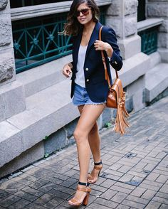 Pin for Later: 22 Elevated Outfit Ideas For Your Denim Shorts Go For Deep Navy and Cognac Shades